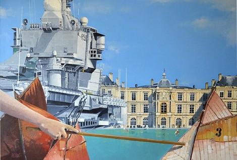 © Gérard Pétillat – Le Charles de Gaulle au bassin du Luxembourg – Huile sur toile 116 x 81 cm