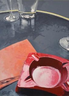© Gérard Pétillat – Le cendrier rouge – Huile sur toile 30 x 40 cm