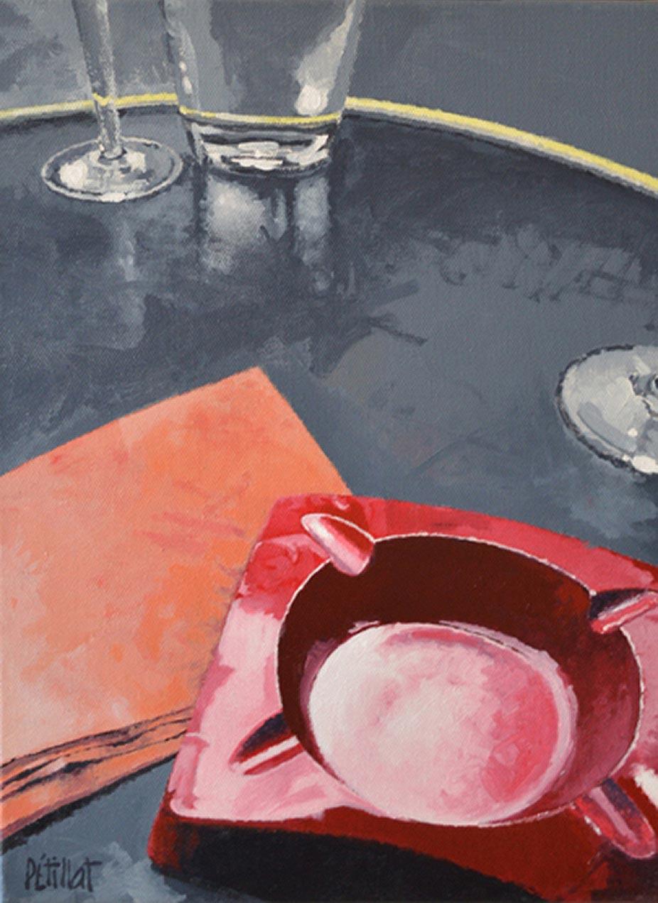 © Gérard Pétillat – Le cendrier rouge – Huile sur toile 40 x 30 cm