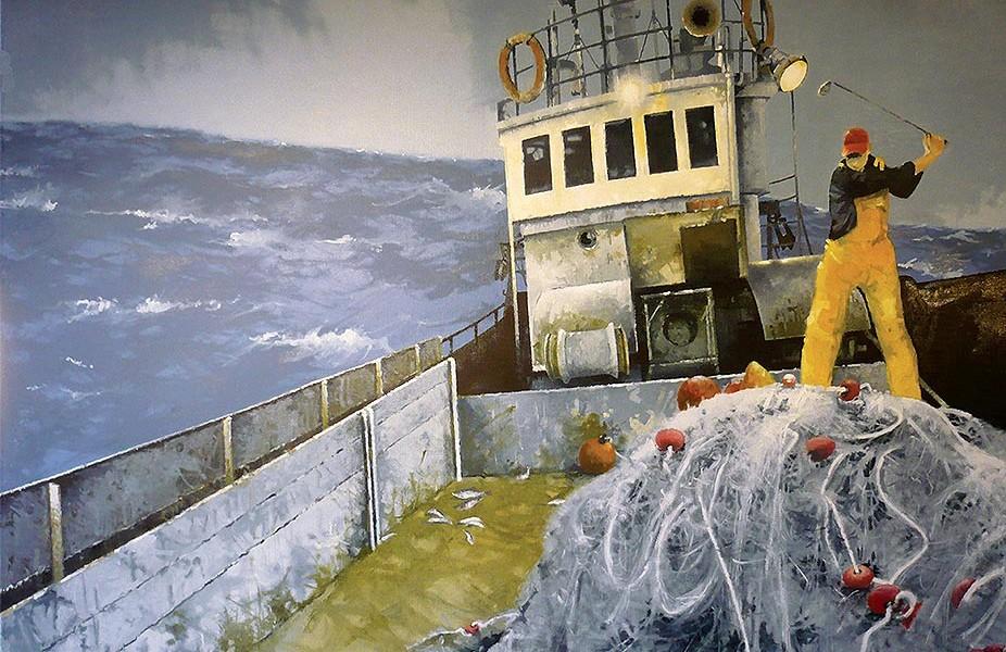 © Gérard Pétillat – Mauvaise pêche – Huile sur toile 116 x 89 cm