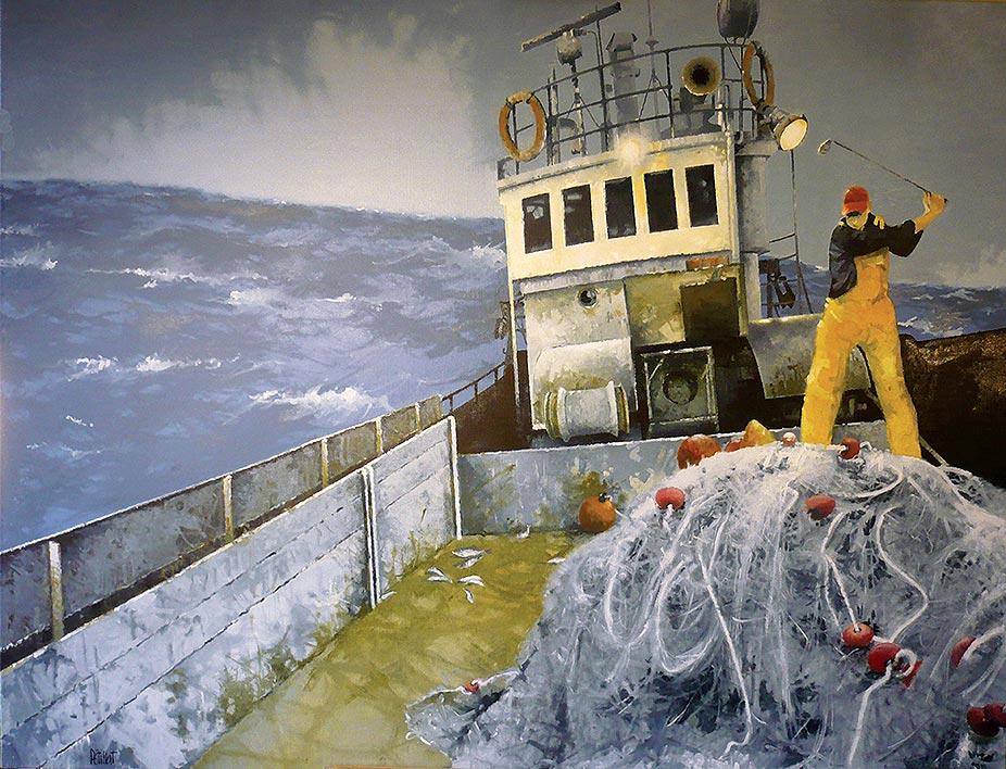 © Gérard Pétillat – Mauvaise pêche – Huile sur toile 89 x 116 cm