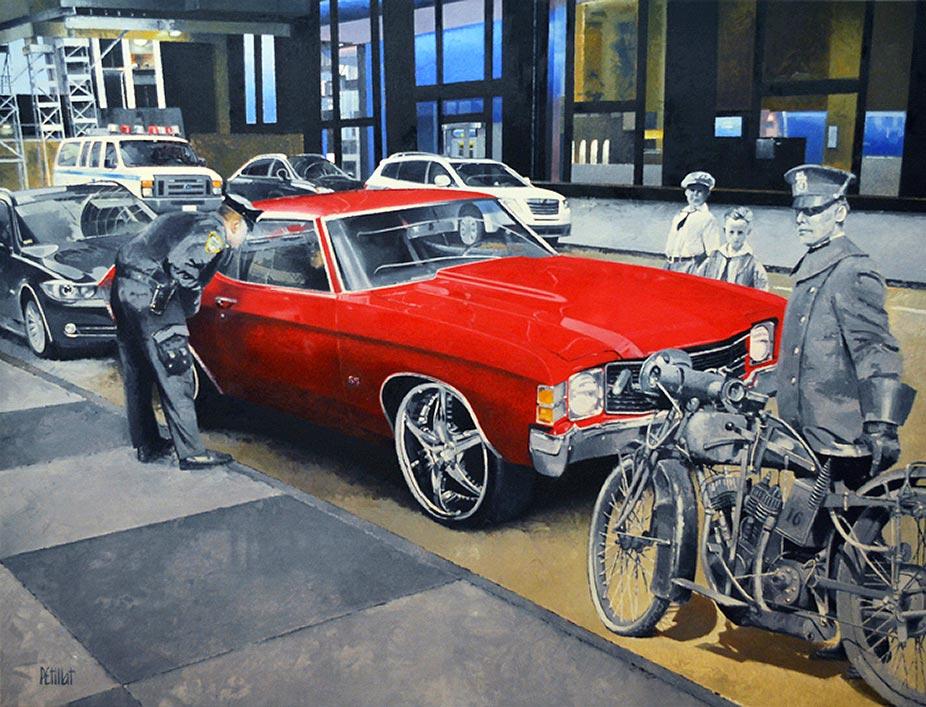 © Gérard Pétillat - NY Chevy 1970 - Huile sur toile 89 x 116 cm