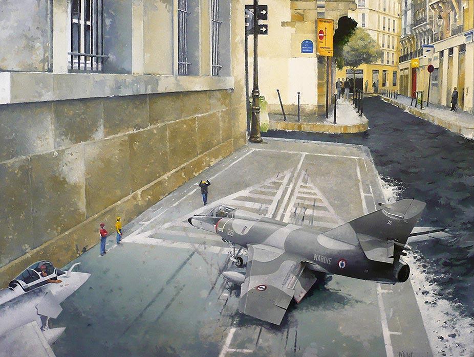 © Gérard Pétillat – Pont d'envol – Huile sur toile 130 x 97 cm