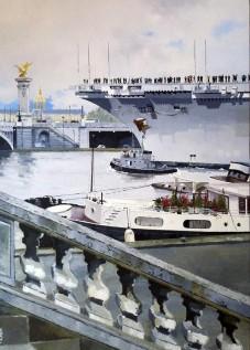© Gérard Pétillat – Retour à quai – Huile sur toile 65 x 92 cm