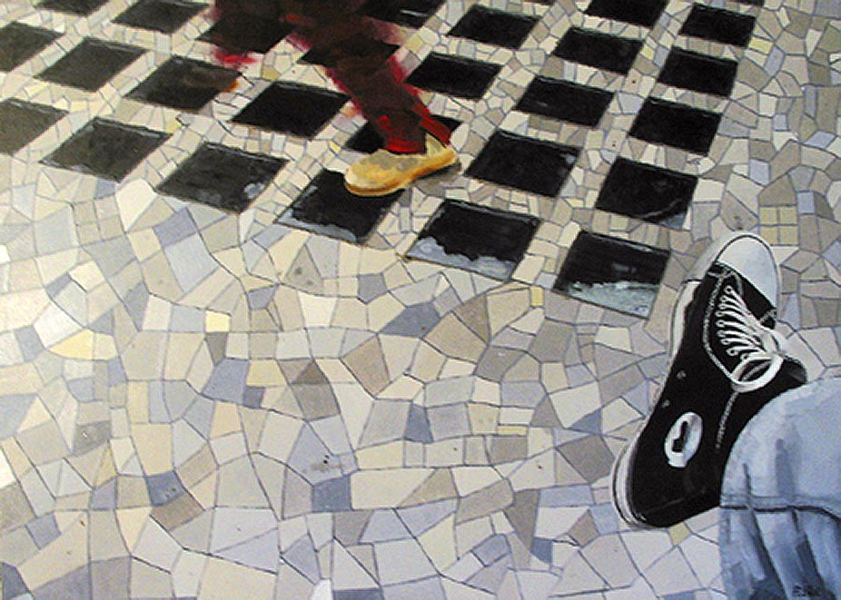 © Gérard Pétillat – Basket – huile sur toile 91 x 100 cm