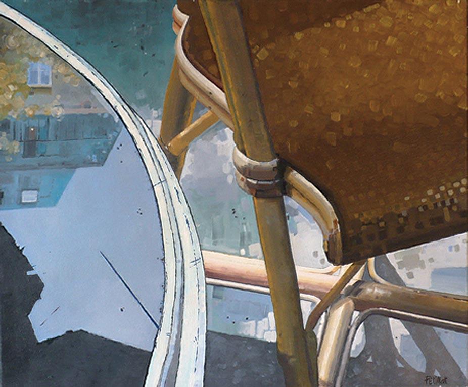 © Gérard Pétillat – Guéridon I – huile sur toile 54 x 65 cm
